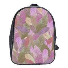 Watercolor Leaves Pattern School Bag (large)