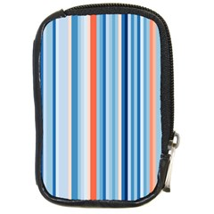 Blue And Coral Stripe 1 Compact Camera Leather Case by dressshop