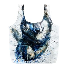 Gray Wolf - Forest King Full Print Recycle Bag (l) by kot737