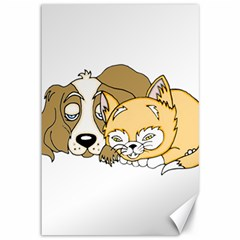 Dog And Kitten Nap Canvas 12  X 18  (unframed) by retrotoomoderndesigns