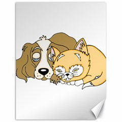 Dog And Kitten Nap Canvas 18  X 24  (unframed) by retrotoomoderndesigns