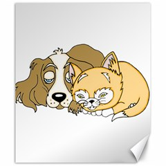 Dog And Kitten Nap Canvas 20  X 24  (unframed) by retrotoomoderndesigns