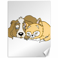 Dog And Kitten Nap Canvas 36  X 48  (unframed) by retrotoomoderndesigns