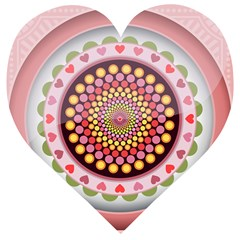 Mandala Zentangle Floral Round Wooden Puzzle Heart