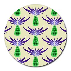 Thistles Purple Flora Flowering Round Mousepads by Pakrebo