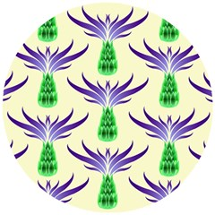 Thistles Purple Flora Flowering Wooden Puzzle Round by Pakrebo