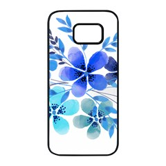 Watercolour Flowers Watercolor Samsung Galaxy S7 Edge Black Seamless Case
