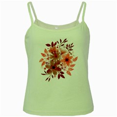 Watercolour Flowers Red Watercolor Green Spaghetti Tank