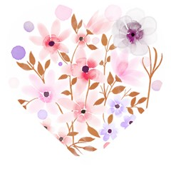 Flowers Watercolor Wooden Puzzle Heart