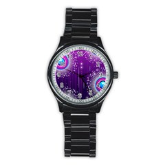 Non Seamless Pattern Background Stainless Steel Round Watch