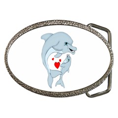 Dolphin Love Belt Buckle (oval) by retrotoomoderndesigns