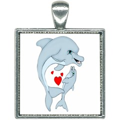 Dolphin Love Square Necklace by retrotoomoderndesigns