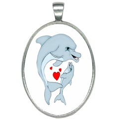 Dolphin Love Oval Necklace by retrotoomoderndesigns