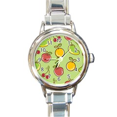Seamless Healthy Fruit Round Italian Charm Watch by HermanTelo