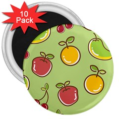 Seamless Healthy Fruit 3  Magnets (10 Pack)  by HermanTelo