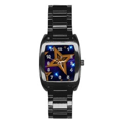 Star Background Stainless Steel Barrel Watch by HermanTelo