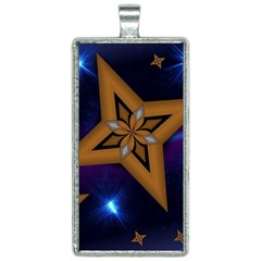 Star Background Rectangle Necklace
