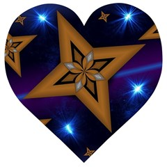 Star Background Wooden Puzzle Heart