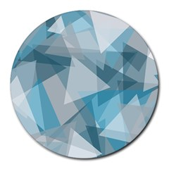 Triangle Blue Pattern Round Mousepads
