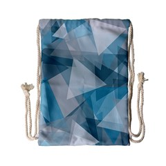Triangle Blue Pattern Drawstring Bag (small)
