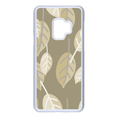 Leaf Grey Samsung Galaxy S9 Seamless Case(white) by AnjaniArt