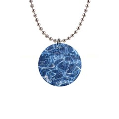 Abstract Blue Diving Fresh 1  Button Necklace by HermanTelo
