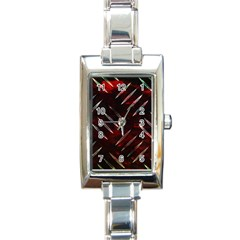 Background Red Metal Rectangle Italian Charm Watch by HermanTelo