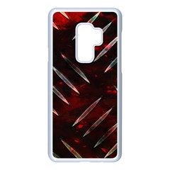 Background Red Metal Samsung Galaxy S9 Plus Seamless Case(white) by HermanTelo