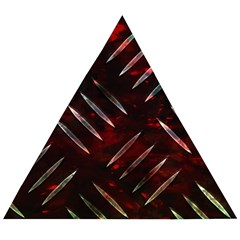 Background Red Metal Wooden Puzzle Triangle