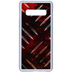 Background Red Metal Samsung Galaxy S10 Plus Seamless Case(white) by HermanTelo