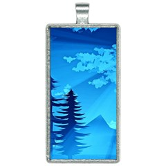 Forest Landscape Pine Trees Forest Rectangle Necklace by Pakrebo