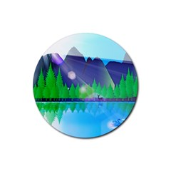 Forest Landscape Pine Trees Forest Rubber Round Coaster (4 Pack)