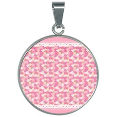 Peony Pattern Pink Scrapbooking 30mm Round Necklace by Pakrebo