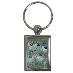 Peacock Feather Pattern Plumage Key Chain (rectangle) by Pakrebo