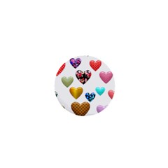 Hearts Puffy Shiny Love Sticker 1  Mini Buttons