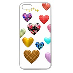 Hearts Puffy Shiny Love Sticker Apple Seamless Iphone 5 Case (clear)
