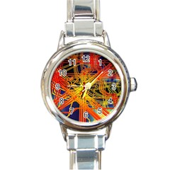 Board Circuits Control Center Trace Round Italian Charm Watch