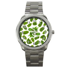 Mint Seamless Pattern Leaf Green Sport Metal Watch