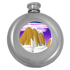 Europa Positive Thinking Mountain Round Hip Flask (5 Oz) by Pakrebo