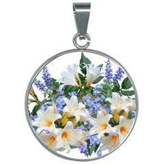 Flowers Lilies Arrangement Bouquet 30mm Round Necklace by Pakrebo