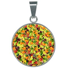 Background Pattern Structure Fruit 25mm Round Necklace