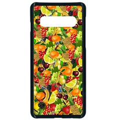 Background Pattern Structure Fruit Samsung Galaxy S10 Seamless Case(black)