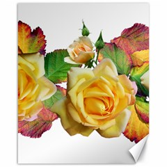 Flowers Roses Autumn Leaves Canvas 16  X 20  by Pakrebo