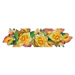 Flowers Roses Autumn Leaves Satin Scarf (oblong)