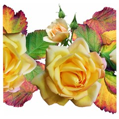 Flowers Roses Autumn Leaves Wooden Puzzle Square