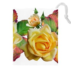 Flowers Roses Autumn Leaves Drawstring Pouch (xxxl) by Pakrebo