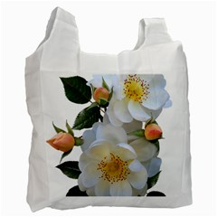 Roses Stamens Pollen Buds White Recycle Bag (one Side) by Pakrebo