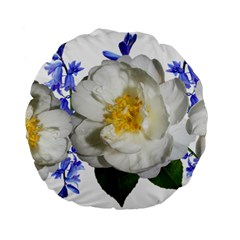 Flowers Camellia Bluebells Fragrant Standard 15  Premium Flano Round Cushions