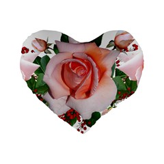 Roses Flowers Berries Arrangement Standard 16  Premium Flano Heart Shape Cushions