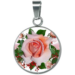 Roses Flowers Berries Arrangement 20mm Round Necklace
